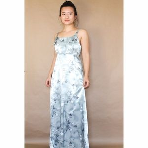 (197) vtg 90s grunge grey satin floral maxi dress